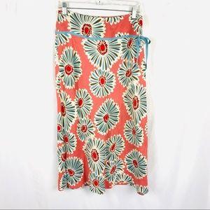 Boden 100% linen floral maxi skirt